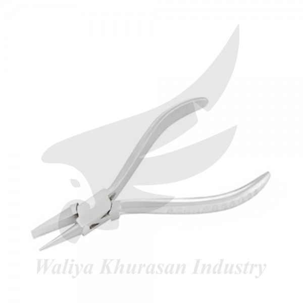 FLAT AND ROUND NOSE BENDING PLIERS GROOVE HANDLE 130MM