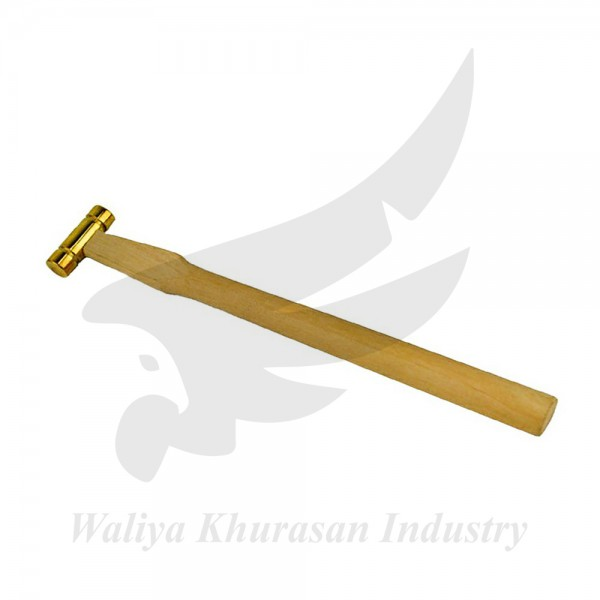 9 INCHES 2 OZ BRASS HAMMER WITH FLAT HEAD AND WOODEN HANDLE
