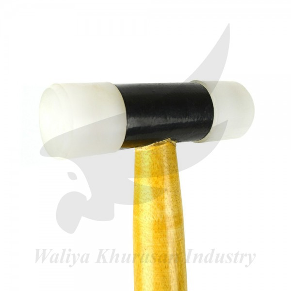 NYLON HAMMER WITH 1 INCH FACES AND WOODEN HANDLE