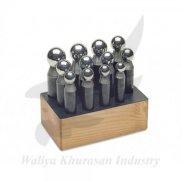 12 PIECE DAPPING PUNCH SET WITH WOODEN STAND