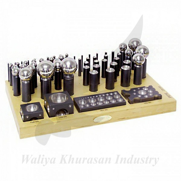 63 PIECES DAPPING SET COMPLETE WITH WOOD STAND