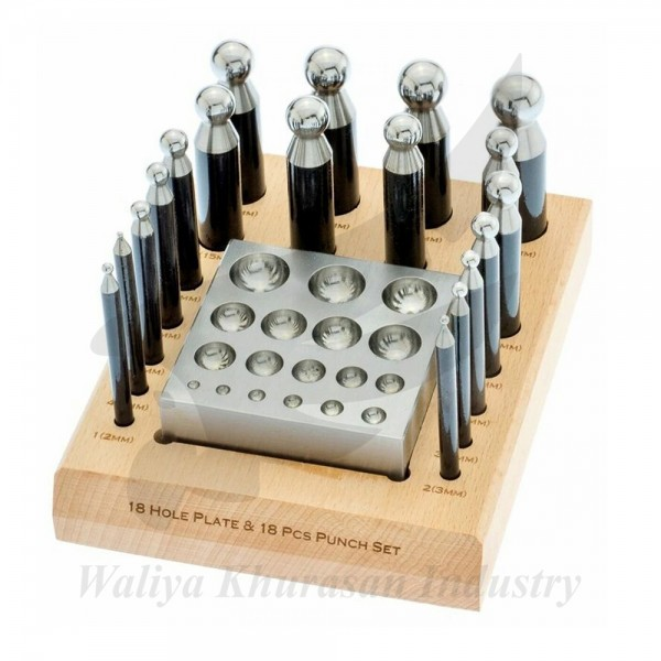 18 HOLE PLATE AND 18 DAPPING PUNCH SET