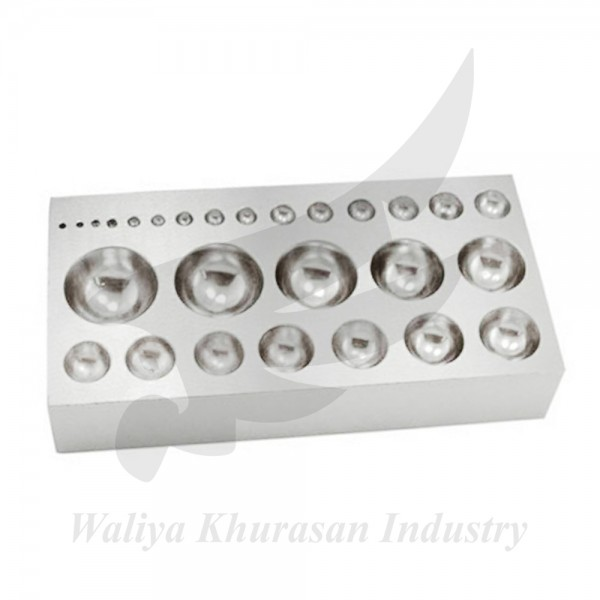 QUALITY LARGE STEEL DAPPING BLOCK PLATE JEWELRY MAKING WITH 27 HALF SPHERES